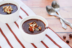 Portioned chocolate pudding in dish Royalty Free Stock Photo