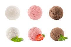 Portionierersammlung von sechs Bällen - sahnig, Erdbeere, Schokolade - verzierte tadellose Blätter, Scheibenbeere stockfotografie
