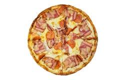 Portionpizza med skinka- och ostslut Fotografering för Bildbyråer