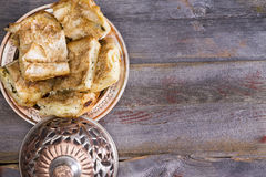 Portions of borek pastry served on a plate Royalty Free Stock Image