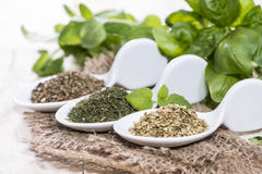 Portions of freh Herbs Royalty Free Stock Photos
