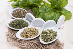 Portions of freh Herbs Stock Photos