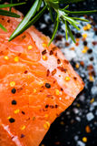 Portions of Fresh Raw Salmon Fillets with Aromatic Herbs and Oli Royalty Free Stock Image
