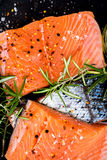 Portions of Fresh Raw Salmon Fillets with Aromatic Herbs and Oli Stock Photos