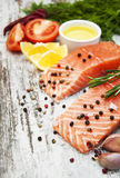 Portions of fresh salmon fillet Stock Photography