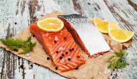 Portions of fresh salmon fillet Royalty Free Stock Photography