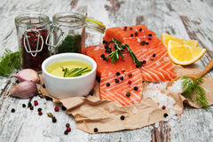 Portions of fresh salmon fillet. With aromatic herbs, spices and vegetables Royalty Free Stock Photos