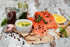 Portions of fresh salmon fillet. With aromatic herbs, spices and vegetables Royalty Free Stock Image