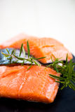 Portions of Fresh Salmon Fillets with Aromatic Herbs and Spices Royalty Free Stock Photo