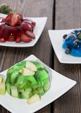 Portions of mixed Jello Stock Photos