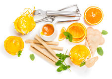 Portions of orange sundae, view from above Stock Photos