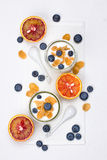 Portions of yogurt Stock Photography