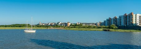 Portishead at high tide, North Somerset, UK royalty free stock photo