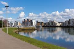 Portishead marina near Bristol Somerset England UK with apartments Stock Photo