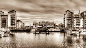 Portishead Quay Marina HDR Sepia Tone Royalty Free Stock Image