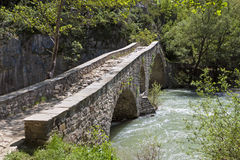 Portitsa gorge and the old bridge in Greece Royalty Free Stock Photo