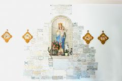 Landscapes and architectures of Brittany. Portivy, France - August 9, 2017:  The ex voto on  the wall of the Lotivy chapel Stock Photography