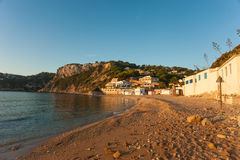 Portixol bay. In Javea in early morning sunlight Royalty Free Stock Photos
