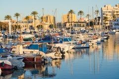 Portixol marina moored boats. PALMA DE MALLORCA, SPAIN - JANUARY 4, 2018: Portixol marina moored boats in afternoon sunshine on January 4, 2018 in Palma de Stock Photography