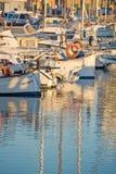Portixol marina moored boats. PALMA DE MALLORCA, SPAIN - JANUARY 4, 2018: Portixol marina moored boats in afternoon sunshine on January 4, 2018 in Palma de Royalty Free Stock Photo