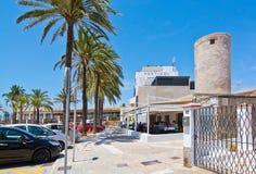 Portixol scene with restaurant Stock Photo