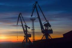 Portkräne auf dem Hintergrund des Sonnenuntergangs lizenzfreie stockfotos