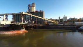 Portland Aerial Birds and River Ship stock video