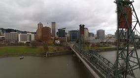 Portland Aerial Cityscape Hawthorne Bridge stock video footage