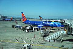 Portland airport activity. Sun Country Airlines was started in 1982 by a small group of pilots and flight attendants in Minneapolis/St. Paul, MN. The airline`s Stock Photos