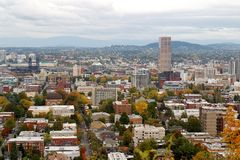 Portland OR in Autumn. A view of the city of Portland Oregon in Autumn Stock Image