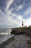 Portland Bill Lighthouse. The lighthouse and obelisk at Portland Bill on the Jurassic Coast near Weymouth in Dorset Royalty Free Stock Photography