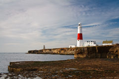 Portland Bill lighthouse on an early morning, Dorset. Royalty Free Stock Images
