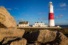Portland Bill Lighthouse genommen in Portland, Dorset, Großbritannien lizenzfreies stockbild