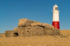 Portland Bill Lighthouse, Jurassic Coast, Dorset, UK. Portland Bill Lighthouse seen from the rocks near Pulpit Rock, Jurassic Coast, Dorset, UK, Jurassic Coast Royalty Free Stock Image