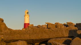 Portland Bill Lighthouse, Jurassic kust, Dorset, UK arkivbilder