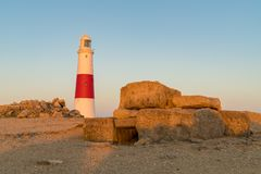 Portland Bill Lighthouse, Jurassic kust, Dorset, UK arkivfoton