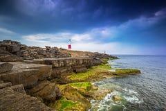 Portland Bill Lighthouse på ön av Portland i Dorset Fotografering för Bildbyråer