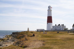 Portland bill lighthouse. People enjoying a sunny day by Portland Bill lighthouse,in Dorset England in end of july Stock Photos