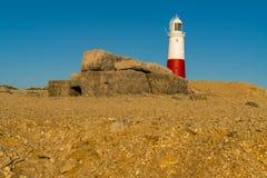 Portland Bill Lighthouse, Jurassic Coast, Dorset, UK. Portland Bill Lighthouse seen from the rocks near Pulpit Rock, Jurassic Coast, Dorset, UK, Jurassic Coast Stock Photo
