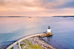 Portland Breakwater Light in Maine. Also called Bug Light, is a small lighthouse in South Portland, Maine stock images