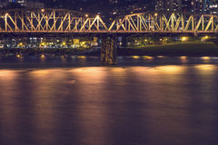Portland Bridge at Night Royalty Free Stock Photos