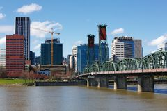 Portland City Bridge and skyline stock image