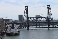 Portland city bridges and river. View of Portland city bridges and river stock photography