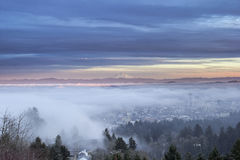 Portland City Covered in Fog with Mount Hood Royalty Free Stock Photography