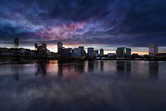 Portland City Downtown Cityscape Cloudy Twilight Royalty Free Stock Photos