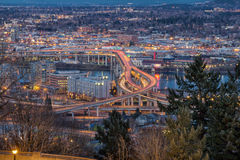 Portland City Eastside at Evening Blue Hour Royalty Free Stock Photo