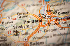 Portland City on a Road Map Stock Image