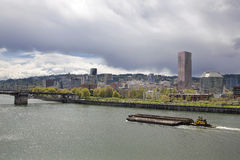 Portland City Skyline Along Willamette River Royalty Free Stock Image