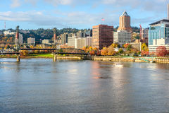 Portland city skyline at autumn Stock Photos