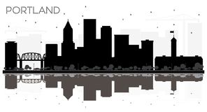 Portland City skyline black and white silhouette with Reflection stock illustration